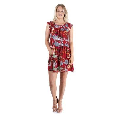 24seven Comfort Apparel Women's Red Floral Dress