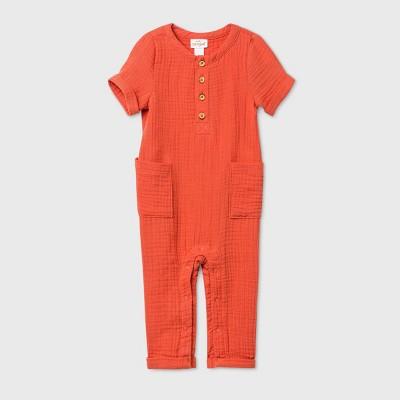 Baby Boys' Gauze Pant Short Sleeve Romper - Cat & Jack™ Orange Newborn
