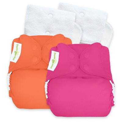 BumGenius Reusable Diaper Set Hot Pink Orange Coral Opaque