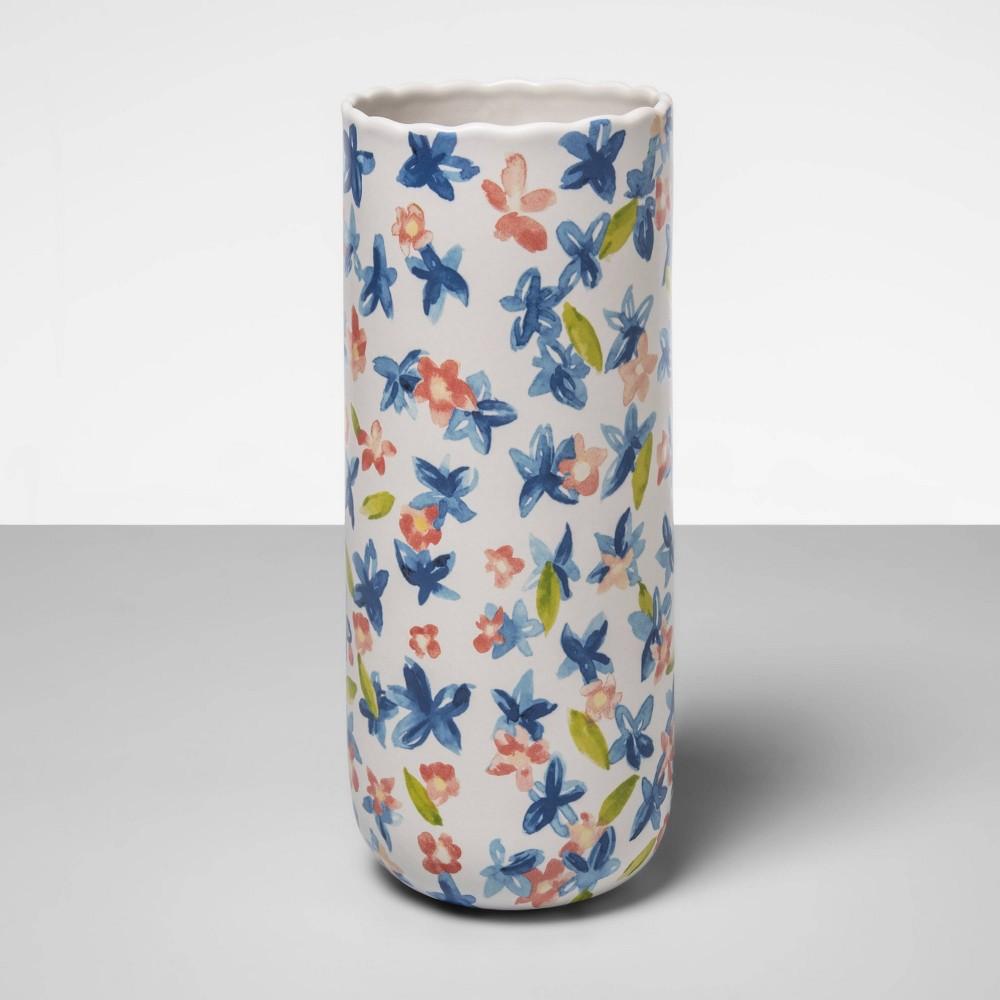 "Image of ""10"""" x 4"""" Stoneware Painted Floral Vase White/Blue - Opalhouse"""