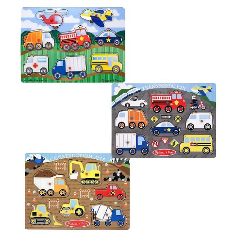 Melissa & Doug® Wooden Peg Puzzles Set - Construction Site, Transportation, and Vehicles 20pc - image 1 of 4