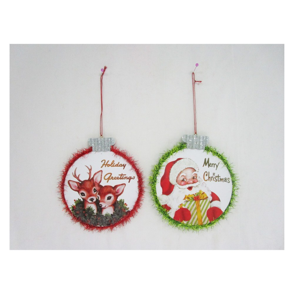 2pk Retro Metal Sign Christmas Ornament Set - Wondershop