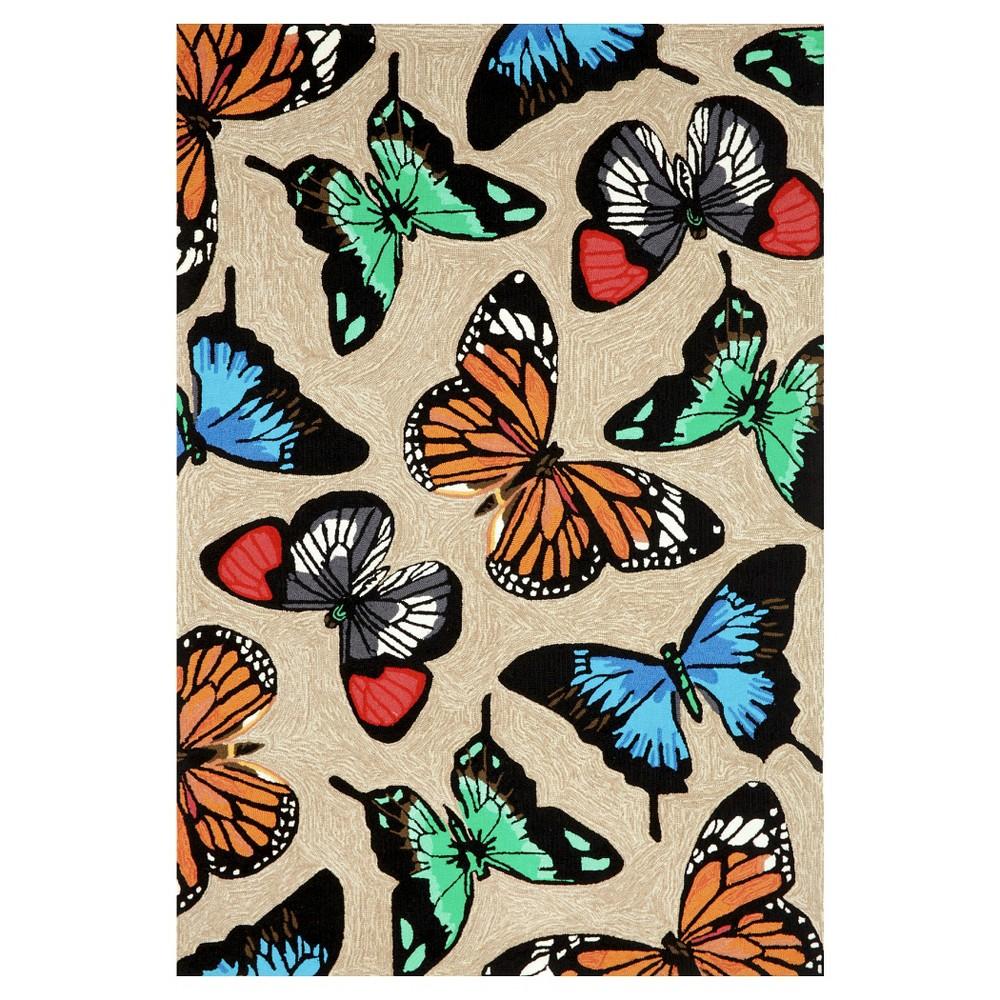 Liora Manne Frontporch Butterfly Dance Indoor/Outdoor Area Rug - Beige (3'6
