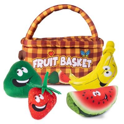 Plush Creations Fruit Basket Carrier with 4 Plush Soft Talking Fruit