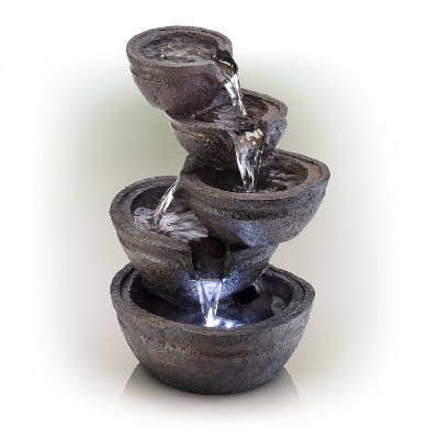 """Alpine 13"""" Tiering Bowls Tabletop Fountain with LED Lights Gray"""