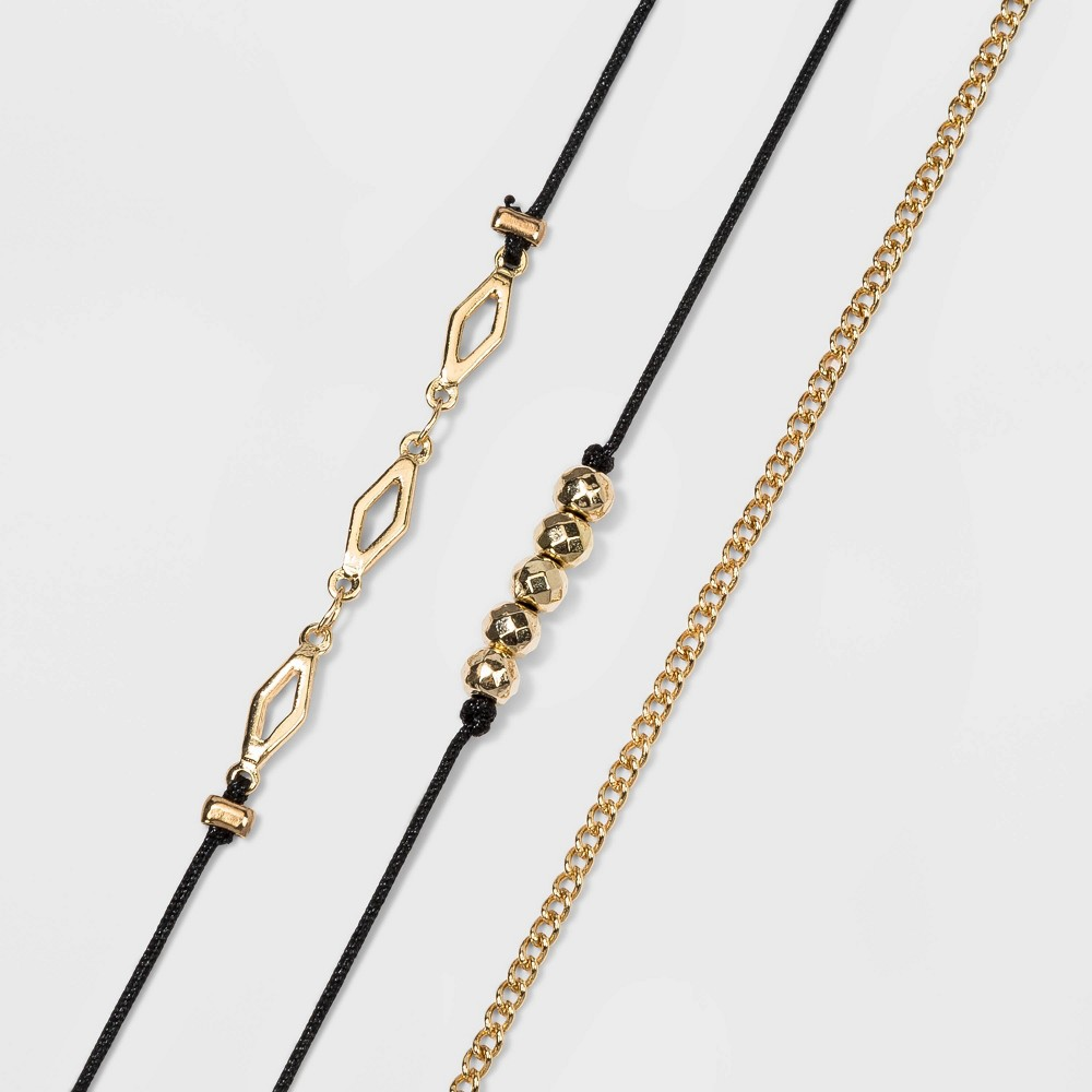 Image of Bead and Diamond Shape Charm Anklet Set - Wild Fable Gold, Women's