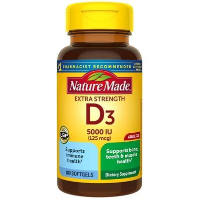 Nature Made Extra Strength Vitamin D3 5000 IU (125 mcg) Softgels
