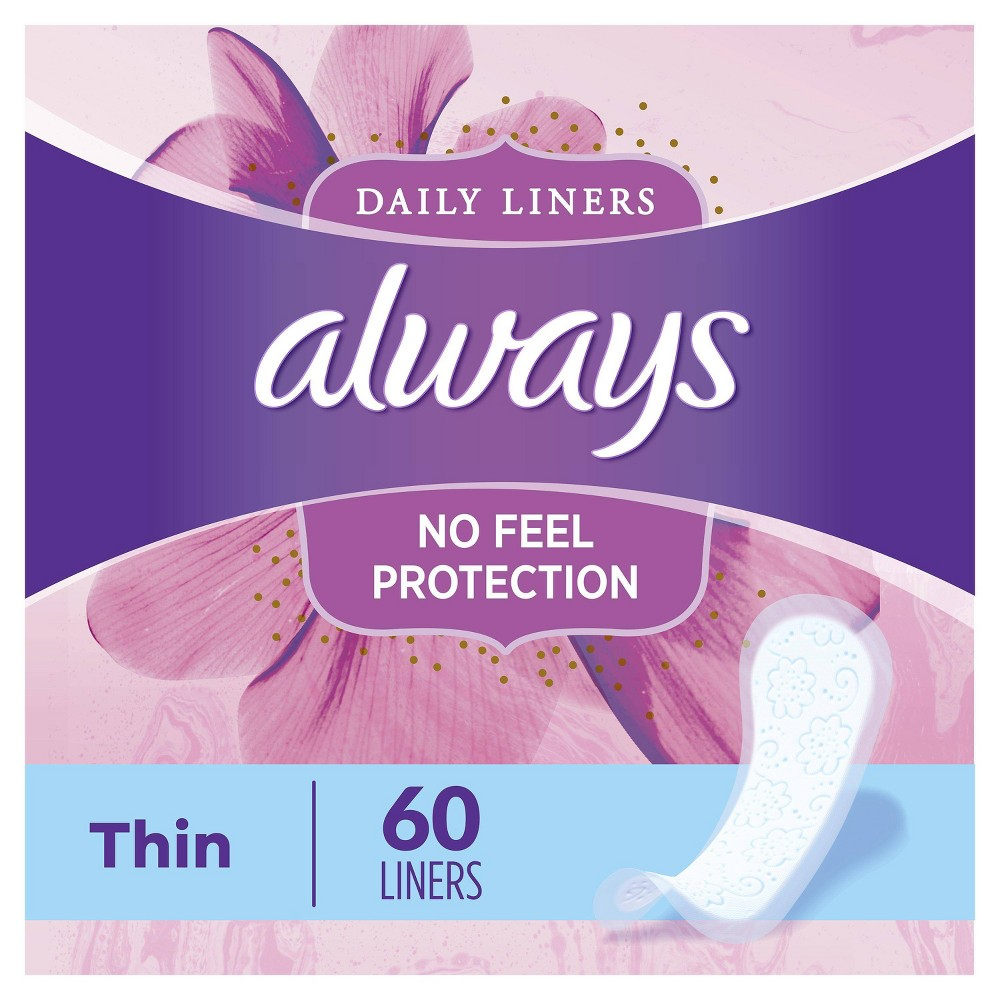 Always Thin Dailies Unscented Wrapped Pantiliners 60ct