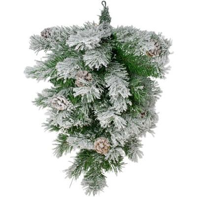 "Northlight 22"" Unlit Snowy Flocked and Pinecones Christmas Teardrop Swag"