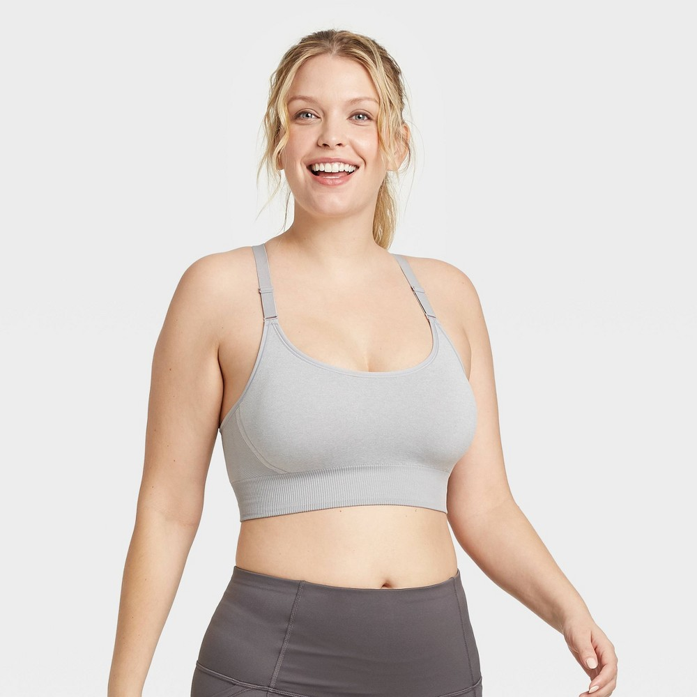 Women 39 S Medium Support Seamless Cami Bra All In Motion 8482 Light Gray Heather Xs