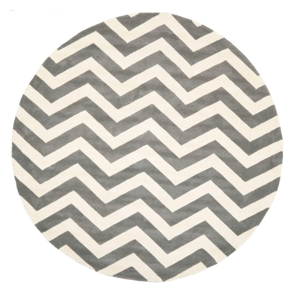 9' Chevron Round Area Rug Dark Gray/Ivory - Safavieh