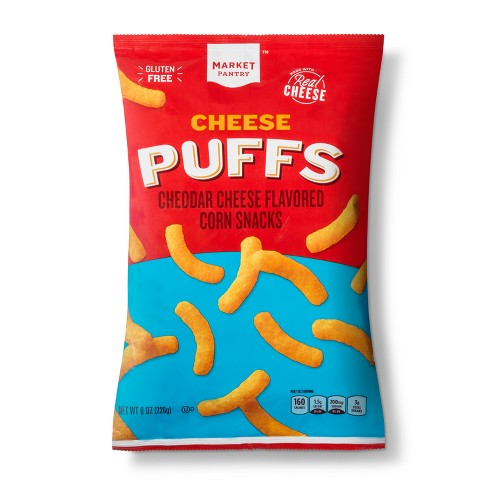 Cheddar Cheese Flavored Cheese Puffs Corn Snacks - 8oz - Market Pantry™
