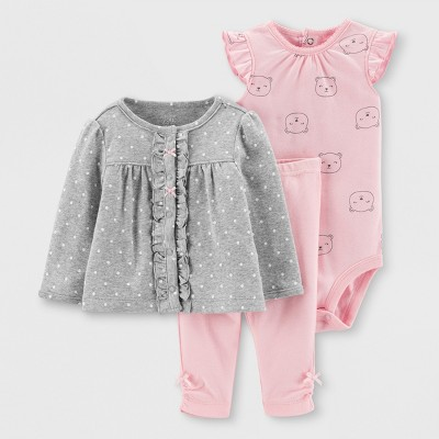 Baby Girls' 3pc Top and Bottom Set - Just One You® made by carter's Gray/Pink 9M