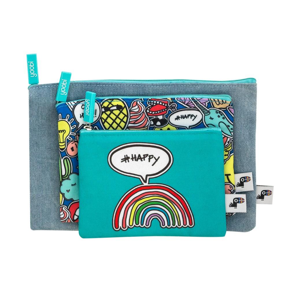 3ct 1-Zipper Pencil Cases Blue - Yoobi, Multi-Colored