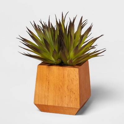 "8"" x 4.5"" Artificial Succulent In Wood Pot Brown - Project 62™"