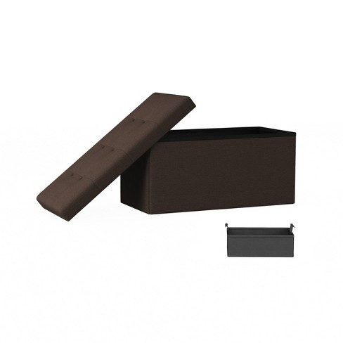 Large Folding Storage Bench Ottoman with Removable Bin Brown - Yorkshire Home - image 1 of 4