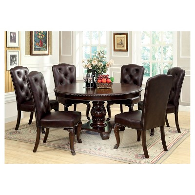 Sun U0026 Pine 7pc Elegant Round Table Leather Dining Set Wood/Brown Cherry :  Target