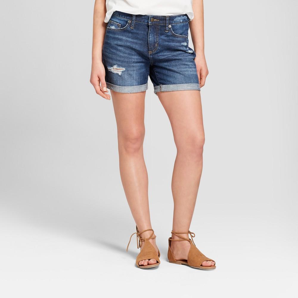 Women's Mid-Rise Roll Cuff Boyfriend Jean Shorts - Universal Thread Dark Wash 10, Blue