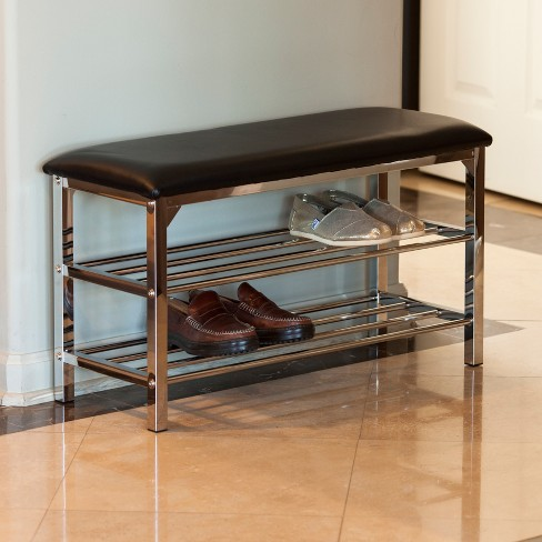 Fine Danya B Leatherette Storage Entryway Bench With Chrome Frame Black Caraccident5 Cool Chair Designs And Ideas Caraccident5Info