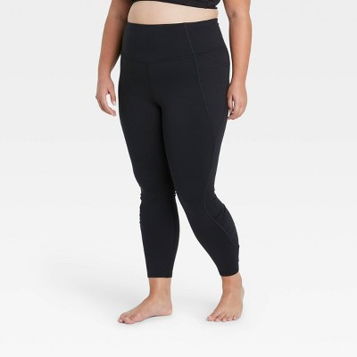 "Women's Contour Shirred Brushed Back High-Waisted 7/8 Leggings 25"" - All in Motion™"