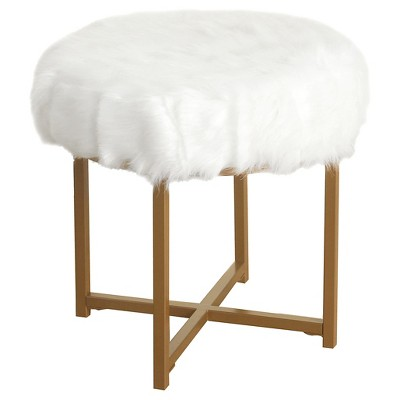 Faux Fur White Round Stool - HomePop