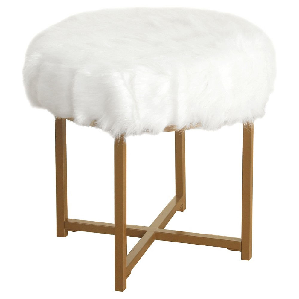 Faux Fur Stool Round White - HomePop was $89.99 now $67.49 (25.0% off)