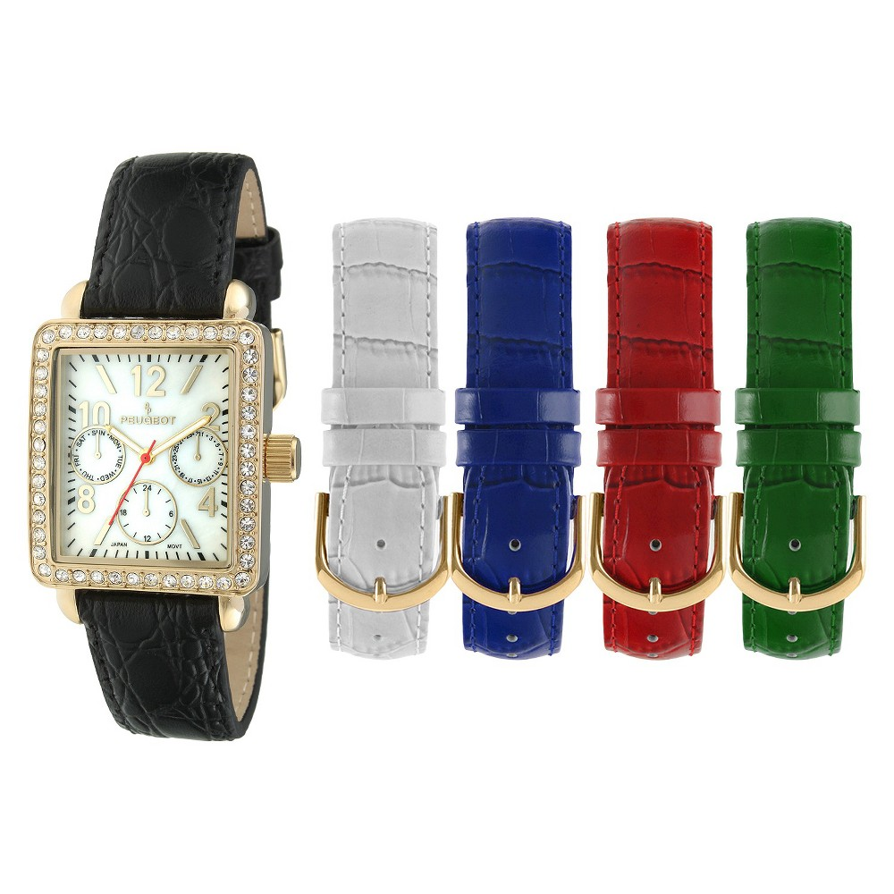 Image of Women's Peugeot Crystal Bezel 5 Interchangeable Leather Strap Watch Set - Gold and, Women's, Size: Small, Red White Gold Black