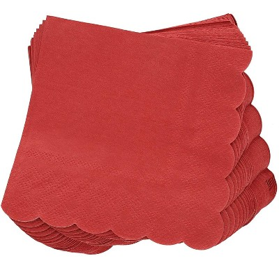 Juvale 100-Pack Bulk 2-Ply Scalloped Disposable Paper Cocktail Napkins, Dark Red, 5 x 5 Inches