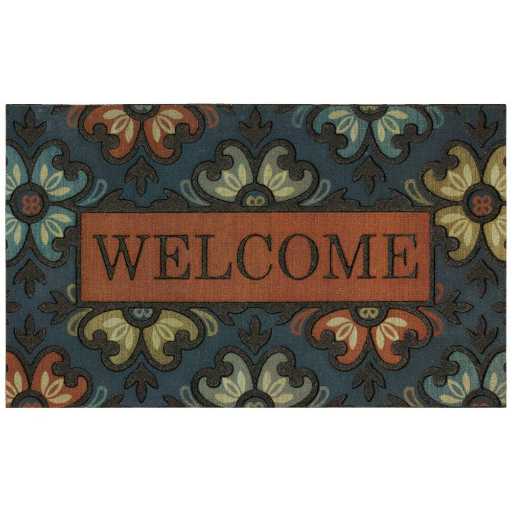"Image of ""1'6""""X2'6"""" Floral Doormats Blue - Mohawk"""