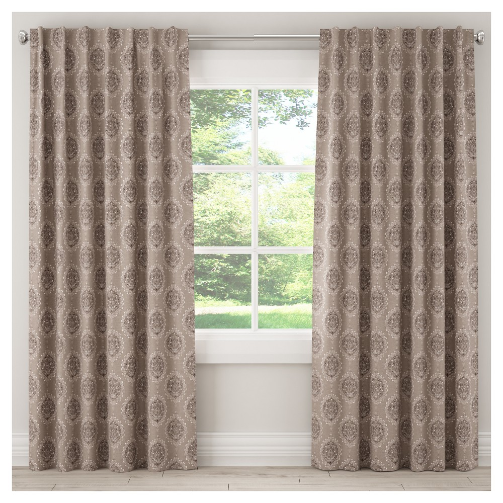 Unlined Damask Curtain Panel Taupe Brown (50