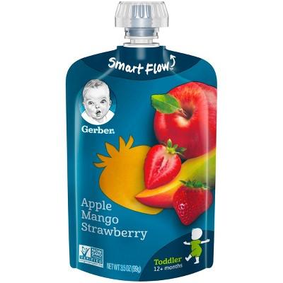 Gerber Toddler Fruit Squeezable Puree, Apple Mango Strawberry - 3.5oz