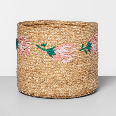 13.5  x 11  Embroidered Straw Protea Basket Natural/Pink - Opalhouse™
