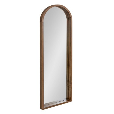 """16"""" x 48"""" Hutton Wood Framed Arch Decorative Wall Mirror Rustic Brown - Kate & Laurel All Things Decor"""