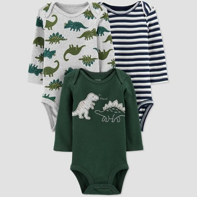 Baby Boys' 3pk Long Sleeve Dino Bodysuits - Just One You® made by carter's Green 3M