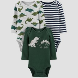 Baby Boys' 3pk Long Sleeve Dino Bodysuits - Just One You® made by carter's Green