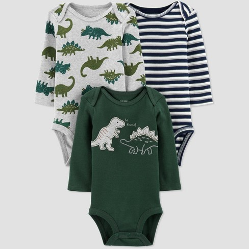 Baby Boys' 3pk Long Sleeve Dino Bodysuits - Just One You® made by carter's Green - image 1 of 4