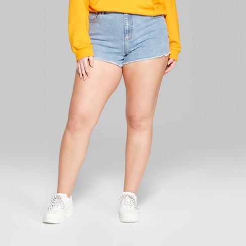 da2ec82137 Women's Plus High-Rise Frayed Hem Denim Shorts - Wild Fable™ Light Wash 20W  : Target