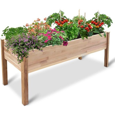 Jumbl Raised Canadian Cedar Garden Bed | Elevated Wood Planter for Growing Fresh Herbs, Vegetables, Flowers, Succulents & Other Plants at Home | Great for Outdoor Patio, Deck, Balcony