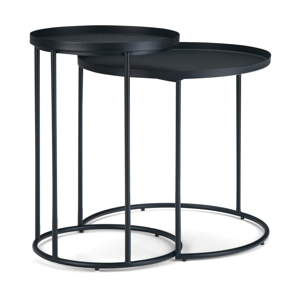 "Image of ""24"""" 2pc Lipton Metal Nesting Table Black - Wyndenhall"""