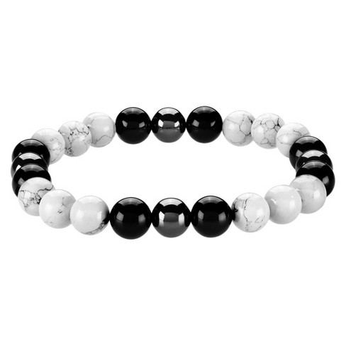 Men S Crucible Natural Stone Beaded Bracelet White Turquoise Black Onyx Hemae