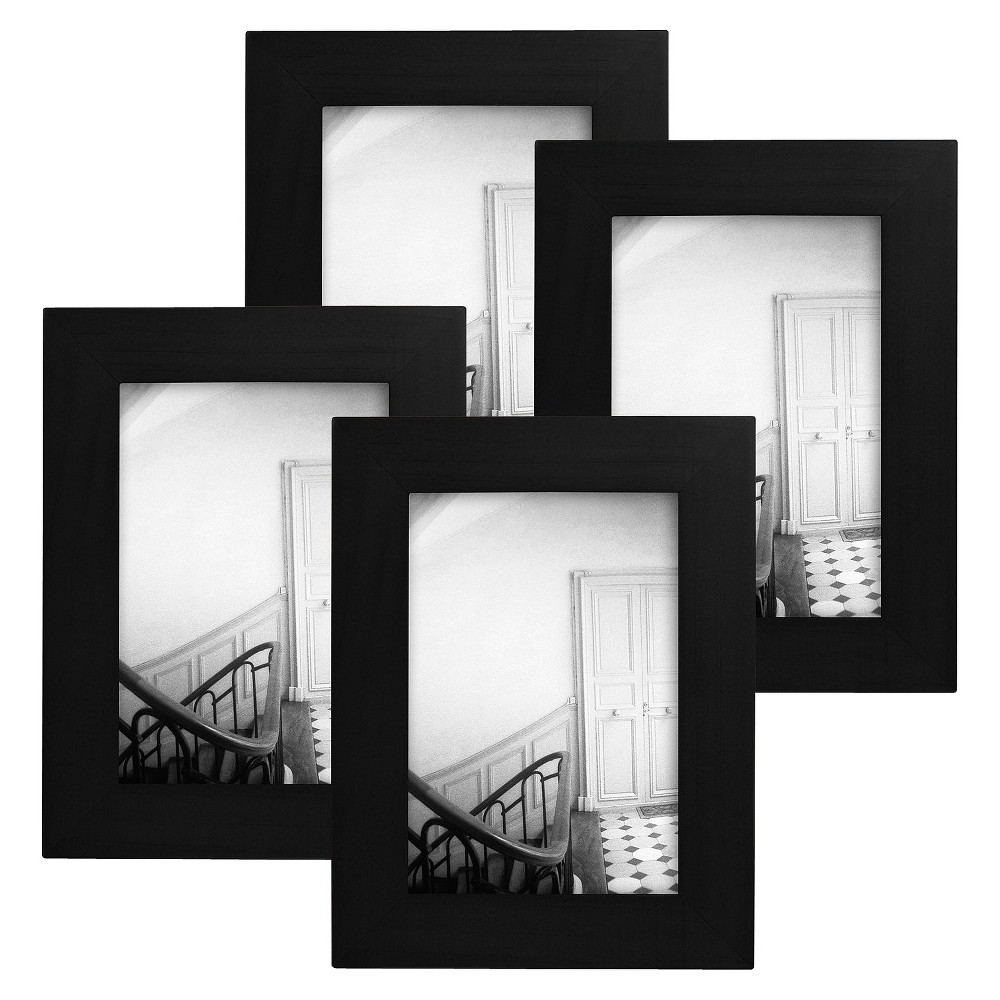 "Image of ""Flat Top Frame 4-Pack Black 3.5""""x5"""" - Room Essentials"""