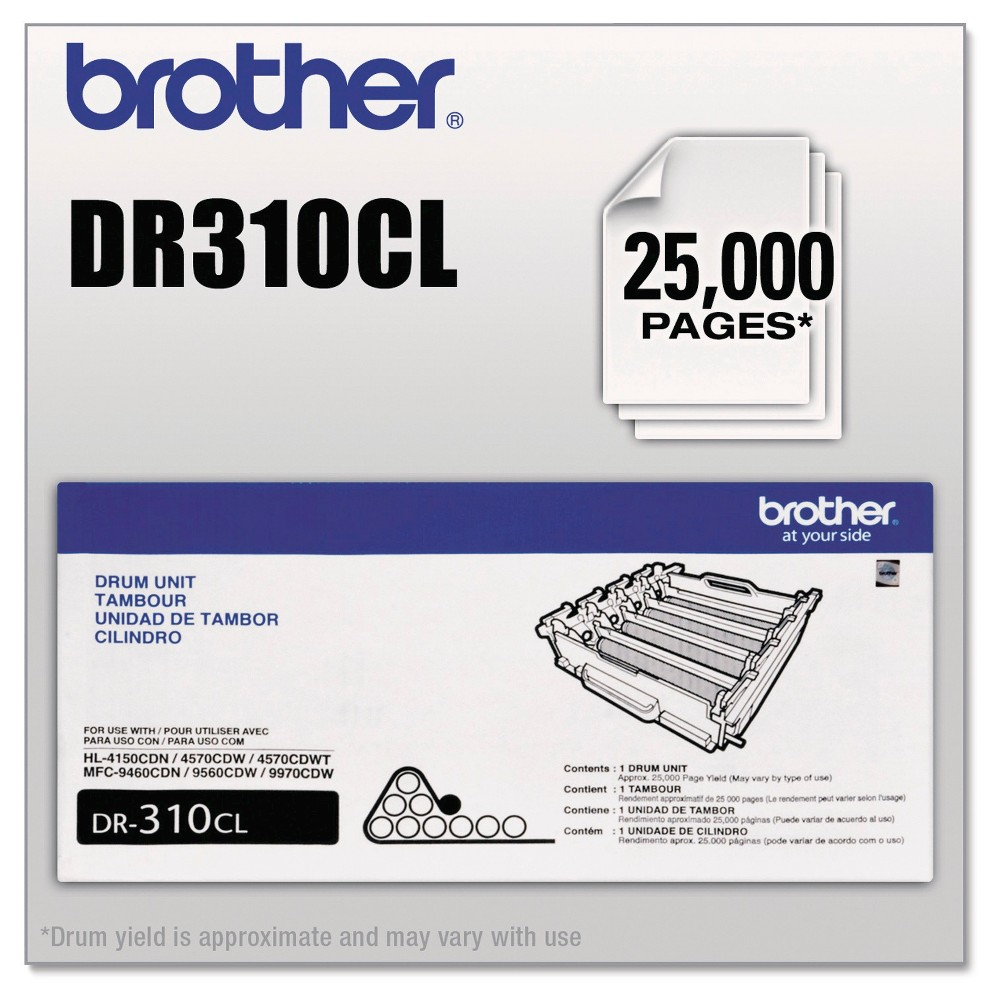 Brother Drum Unit - Black (DR310CL) This innovative drum brings superior quality to every print job. You'll appreciate the professional output, page after page. Formulated to help prolong your machine's useful life. Device Types: Multifunction Laser Printer; Color(s): Black; Page-Yield: 25000; Supply Type: Drum Unit.