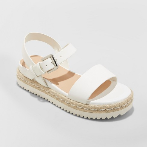 58e1673ba6b Women s Rianne Espadrille Ankle Strap Sandals - A New Day™ White 5.5    Target