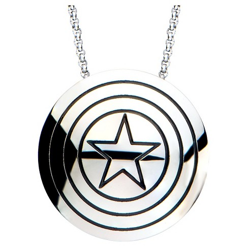 "Women's Marvel™ Captain America Shield Logo Stainless Steel Polished Pendant Necklace (18"") - image 1 of 2"