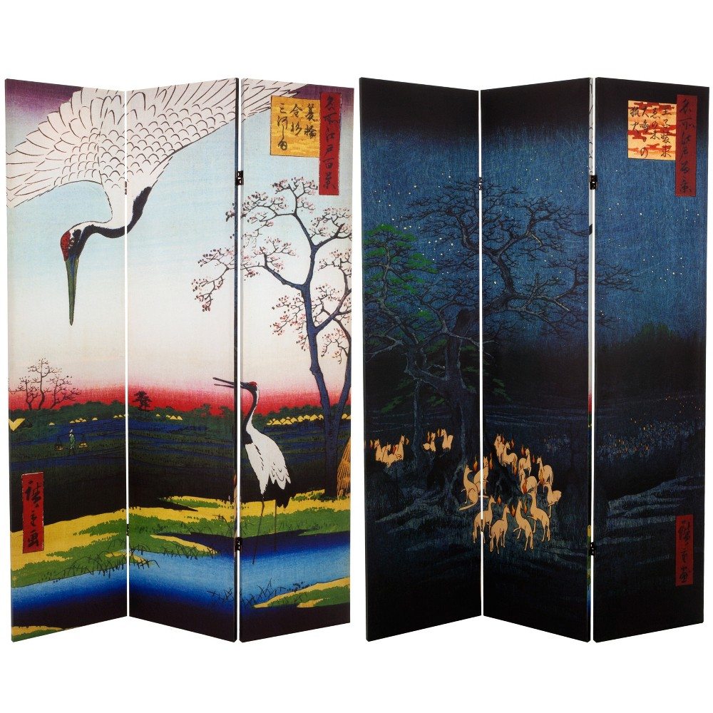 6' Tall Double Sided Hiroshige Room Divider Cranes/Fox Fire - Oriental Furniture, Multicolored