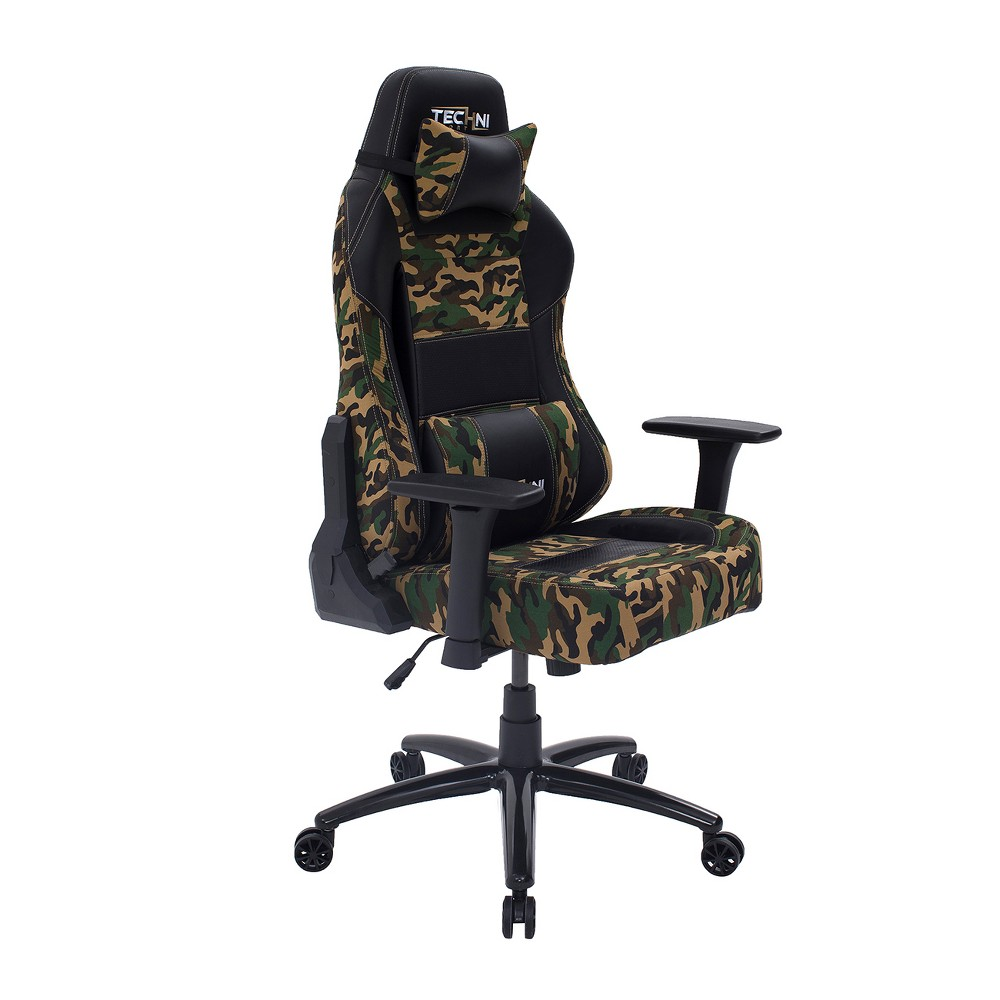 Image of Ergonomic High Back Racer Style Video Gaming Chair Green - Techni Sport