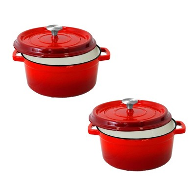 NutriChef NCCIEC45 5 Quart Non Stick Porcelain Enameled Round Cast Iron Dutch Oven with Self Basting Lid and Handles, Red (2 Pack)