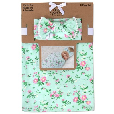 Baby Essentials Dainty Floral Swaddle Blanket and Headband