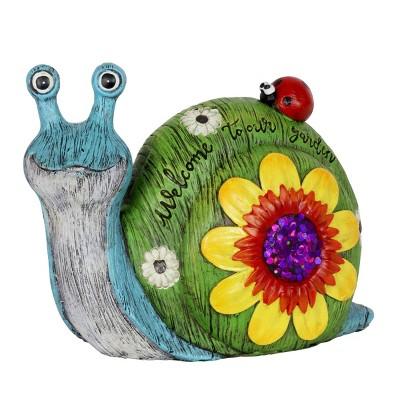 """8.27"""" Resin Garden Snail Green/Blue/Yellow - Exhart"""
