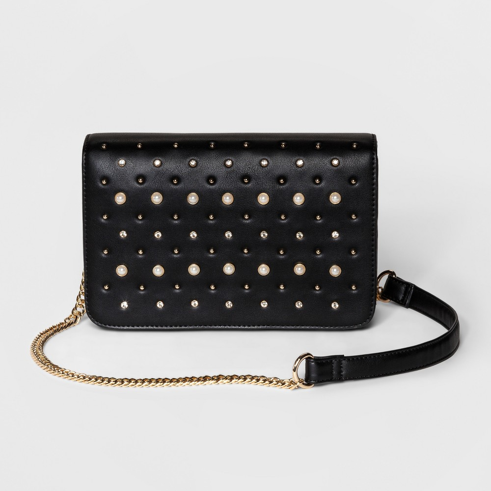 Image of Women's Cesca Medium Crossbody Bag With Pearls Embellishment - Black